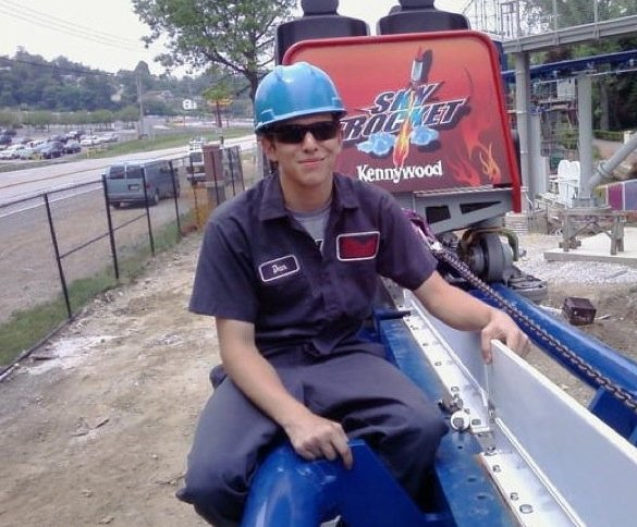 Dan Guy working on SkyRocket at Kennywood.