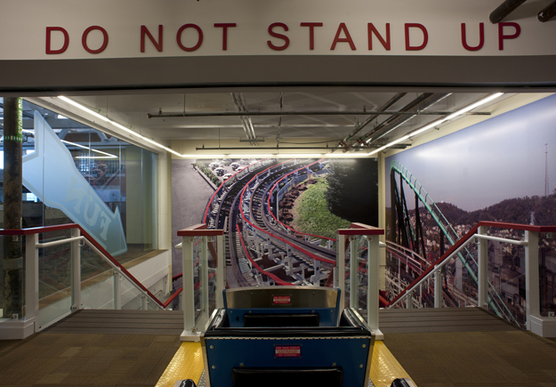 google office in pittsburgh. The Office Is Themed To Kennywood, Local Pittsburgh Amusement Park Which Known For Its Classic Feel And Legendary Wooden Coasters. Google In U