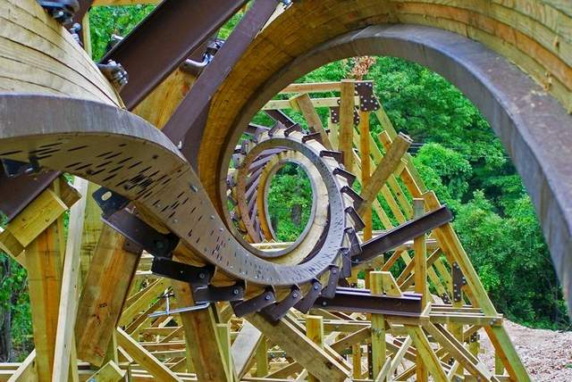 looping wooden roller coaster