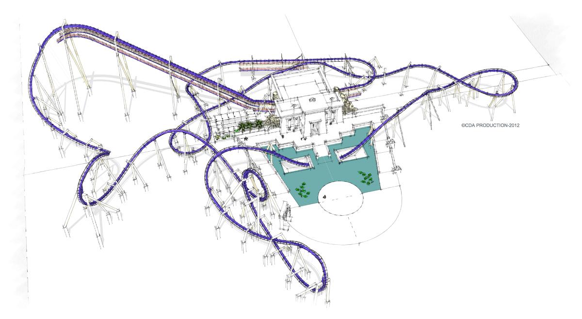 Montu roller coaster layout