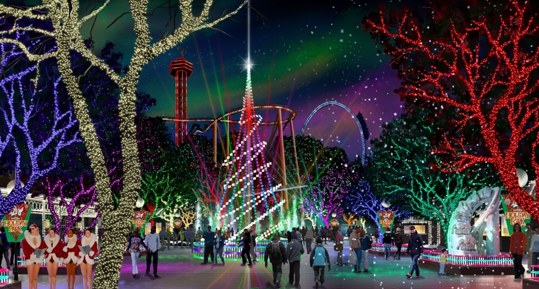 above concept art for holiday in the park at six flags magic mountain in valencia california
