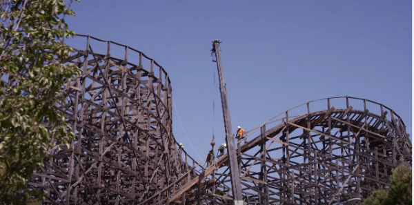 GhostRider's refurbishment included new track and reprofiling (courtesy Knott's Berry Farm).