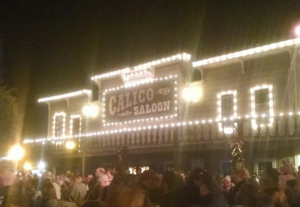 Calico Saloon decorated for the holidays.