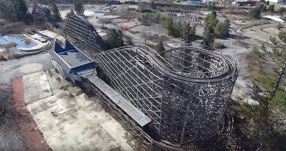 Abandoned Geauga Lake Amusement Park from Above - Coaster101