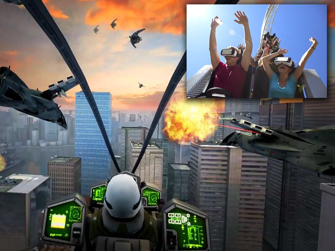 """The """"New Revolution"""" VR coaster coming to Six Flags parks, looks a lot like a video game sci fi flight simulator, right?"""