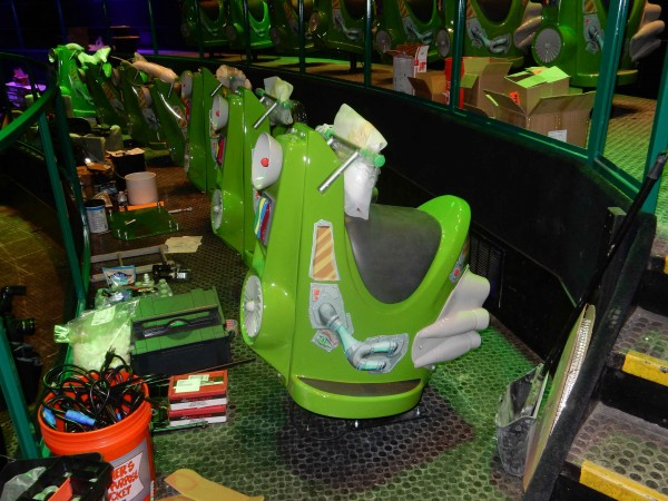 """The sweet new """"vehicles"""" for Plants vs Zombies at Carowinds under construction."""
