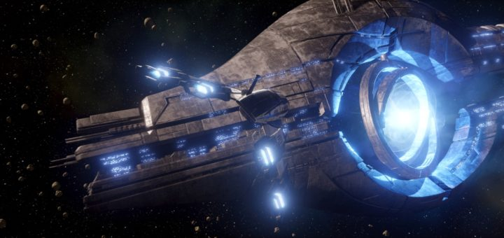 "An image of the ""Normandy"" starship approaching a Mass Relay from the Mass Effect: New Earth attraction."