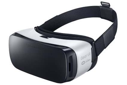 The Samsung Gear VR headset used on VR coasters, one of many types of headsets, several of which are being made by game developer companies.