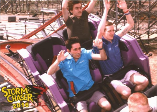 Coaster101 writers Nick Weisenberger and John Stevenson riding Storm Chaser at Kentucky Kingdom