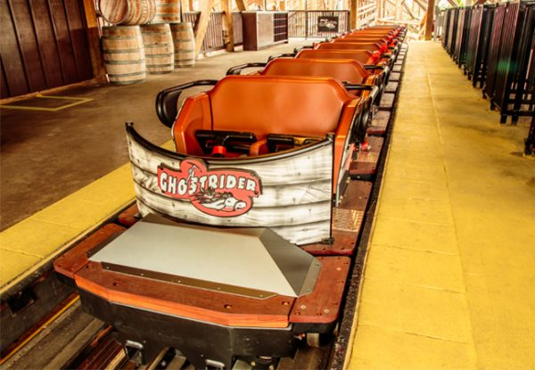 GhostRider with its new Milennium Flyer trains opens June 11 (courtesy Knott's Berry Farm)