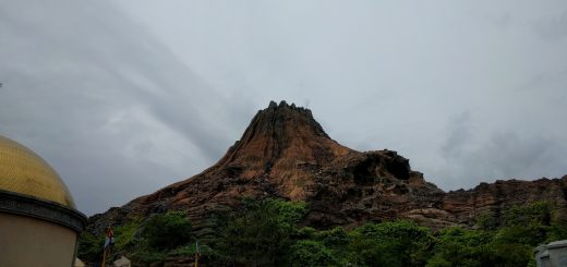 The Mysterious Island dominates the park.