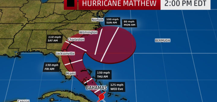 Oct. 5 Hurricane Matthew projected path and intensity © The Weather Channel
