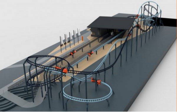 A dueling layout is one way to add gaming elements to a Spike Coaster, and take advantage of the interactive element.