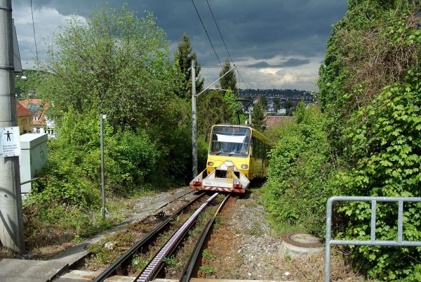 A traditional rack railway near Stuttgart, Germany. Note the teeth on the ground. (via Wikipedia)