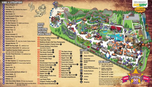 Frontier City Map Small Park Showcase: Frontier City   Coaster101